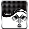 Checkered flags and trophy on wave background Royalty Free Stock Photo