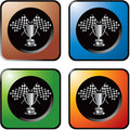 Checkered flags and trophy on web icons Royalty Free Stock Photos