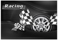 Checkered flags and wheel & text Stock Photo