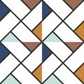 Checkered floor tile abstract colored triangles seamless background. Vector illustration.