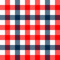 Checkered gingham plaid fabric seamless pattern in blue white and red, vector print Royalty Free Stock Photo