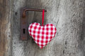 Checkered heart shape hanging on door handle for valentine chri christmas wedding mother s day or anniversary country style Royalty Free Stock Photos