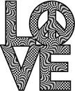Checkered love peace type design of with a symbol in a black and white pattern Stock Image