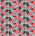 Checkered pattern with pink flowers intersecting lines and buds on a gray background Royalty Free Stock Photo
