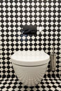 Checkered pattern in toilet Royalty Free Stock Images