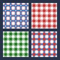 Checkered plaid background illustration set of colorful seamless patterns typical patterns for tablecloth designs Stock Image