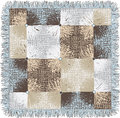 Checkered quilt weave plaid with decorative circles and fringe Royalty Free Stock Photo
