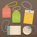 Checkered shopping tags Stock Photos