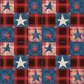 Checkered stars seamless red blue pattern background Stock Images