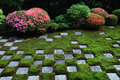 Checkered stone garden and azalea in Kyoto, JAPAN. Royalty Free Stock Photo