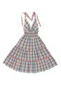 Checkered sun dress multicoloured on white Stock Photo