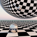 Checkered surreal horizon a grid pattern background with a silver mirror orbs abstract concept to leading into future events Royalty Free Stock Photography
