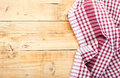 Checkered tablecloth on wooden table brown Royalty Free Stock Images