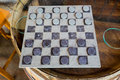 Checkers Game On Wine Barrel Table