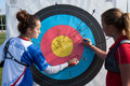 Checking the archery accuracy auch france may two people are their at national competition for young archers on may in auch france Stock Photography