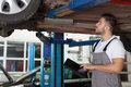 Checking car chassis focused mechanic standing under holding a digital tablet and a Royalty Free Stock Photo