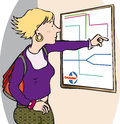 Checking map travelling woman directions Royalty Free Stock Images