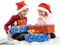 Checking present boxes Royalty Free Stock Photo