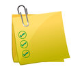 Checkmark post it yellow Stock Photo