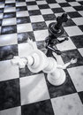 Checkmate knockout black d render of chess king knocking out opponent with punch Stock Images
