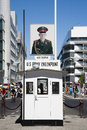 Checkpoint charlie berlin germany july the most famous berlin crossing point between east and west berlin during the cold war Stock Images