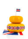 Cheddar cheese english or british with flag ribbon Stock Photography