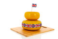 Cheddar cheese english or british with flag ribbon Royalty Free Stock Photography