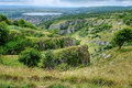 Cheddar gorge view of and beyond from the top of the cliffs Royalty Free Stock Image
