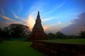 Chedi sunset,chedi in ayutthaya‎ thailand Stock Images
