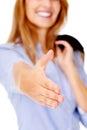 Cheeful handshake businesswoman Royalty Free Stock Photo