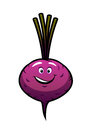 Cheeky little purple cartoon beetroot with a happy lopsided grin isolated on white Stock Images