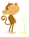 Cheeky monkey takes the pee illustration of a very who has been caught short and has had to have a wee Stock Photography