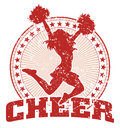 Cheer design vintage illustration of a in a style with a cheerleader silhouette circle of stars and sunburst pattern Stock Image