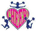 Cheer heart is an illustration of a cheerleader design which includes three cheerleaders and the word in a shaped Stock Photo