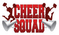 Cheer squad illustration of a design for cheerleaders includes a two jumping cheerleaders and megaphones Stock Photography