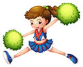 A cheerdancer with a green ponytail and green pompoms illustration of on white background Stock Images