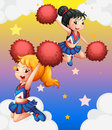 Cheerdancers with red pompoms illustration of the Royalty Free Stock Photography