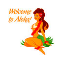 Cheerful aloha girl native beauty welcome to the sunny hawaii Stock Photography