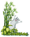 A cheerful animal beside a bamboo tree illustration of on white background Stock Photo