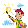 Cheerful artist draws the sun among the clouds. Royalty Free Stock Photo