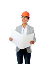 Cheerful asian engineer holding blueprint portrait of a over white background Stock Image