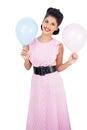 Cheerful black hair model holding balloons on white background Stock Image
