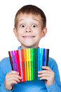 Cheerful boy with a felt-tip pen in his hand Royalty Free Stock Photography