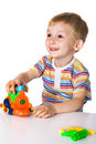 Cheerful boy with toy car Stock Photography