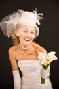 Cheerful bride dressed in  retro style Royalty Free Stock Image