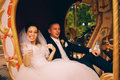 Cheerful bride with groom in carriage Royalty Free Stock Photo