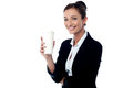 Cheerful business lady holding beverage smiling relaxed businesswoman with Royalty Free Stock Photos