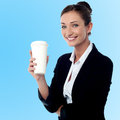 Cheerful business lady holding beverage smiling relaxed businesswoman with Stock Photos