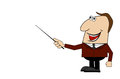 Cheerful business man with a pointer in hand vector illustration Royalty Free Stock Photo
