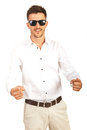 Cheerful business man pointing to you with sunglasses isolated on white background Royalty Free Stock Photo